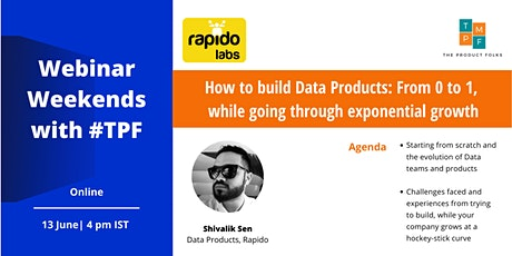 How to build data products from 0 to 1 by Shivalik Sen (Rapido) tickets