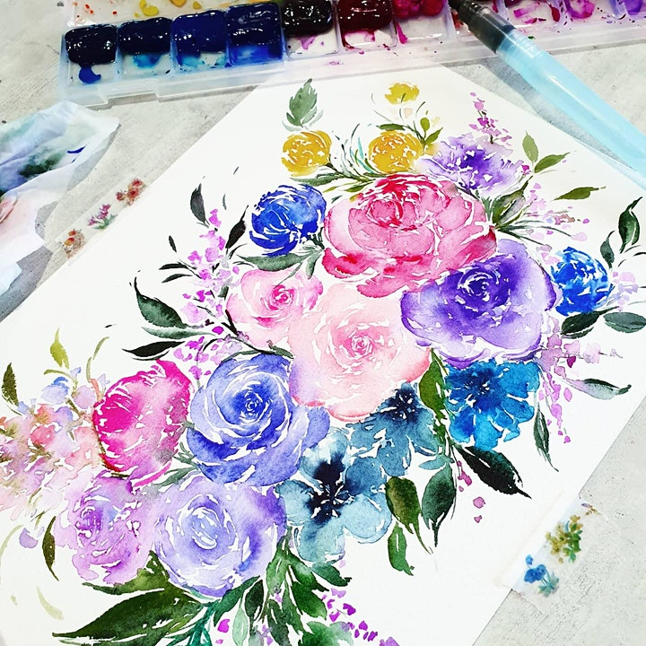 Watercolor Florals and Brush Lettering Course starts July 10(8 Sessions) image