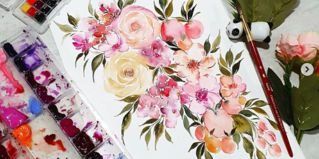 Watercolor Florals & Brush Lettering Online from 18 Jul tickets