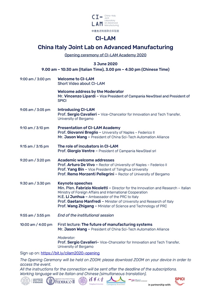 Immagine CI-LAM China Italy Joint Lab on Advanced Manufacturing - Opening ceremony