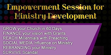 Premier Empowerment Session for Ministry Development with Dinner Included tickets