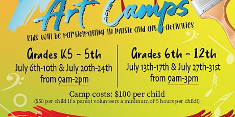 Art Camps July 27th-31st for grades 6th-12th tickets