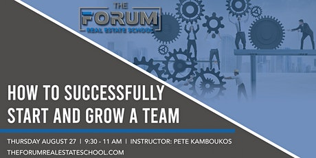 How To Successfully  Start and Grow A Team tickets