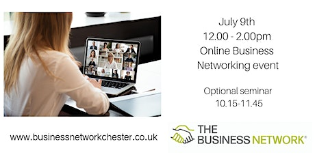July 9th Online Business Networking event + optional educational seminar tickets