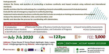 Business Continuity Governance Programme Course tickets