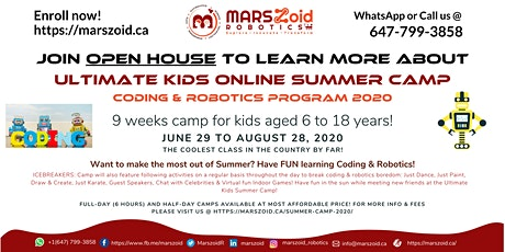 Open House | Ultimate Kids Summer Camp 2020 | MARSzoid Robotics tickets