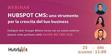 [WEBINAR] HubSpot CMS: uno strumento per la crescita del tuo business biglietti