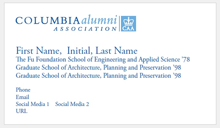 Columbia Alumni Business Cards 2020-2021 image