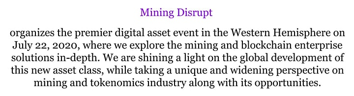 Mining Disrupt Conference LIVE | Bitcoin Blockchain Cryptocurrency Mining image