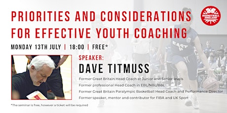 Priorities and considerations for effective youth coaching | Dave Titmuss tickets