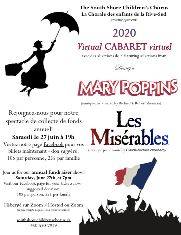"""SSCC """"Cabaret Virtuel"""" featuring songs  from Les Misérables & Mary Poppins image"""
