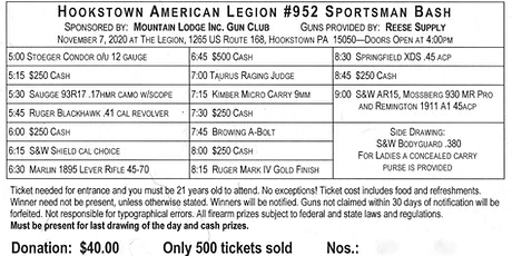 2020 American Legion Sportsman Bash tickets