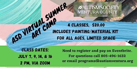 ASD Summer Virtual Art Camp for all Ages- July 7, 9, 14 and  16 tickets