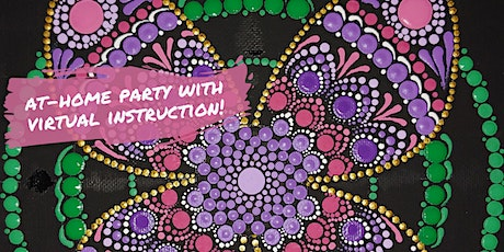BUTTERFLY Mandala Dot Painting with Virtual Instruction from Brush & Cork tickets