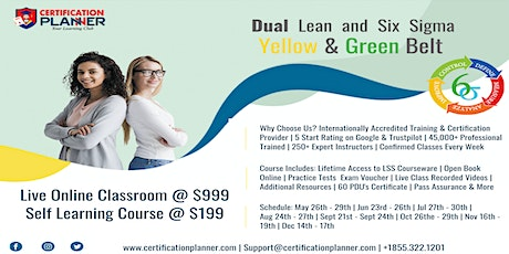 Dual Lean Six Sigma Yellow & Green Belt Training in Guadalupe entradas