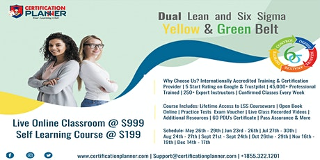 Dual Lean Six Sigma Yellow & Green Belt Training in Detroit tickets