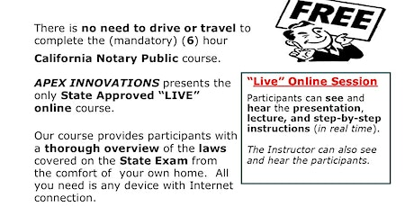 """FREE"" - LIVE ONLINE NOTARY PUBLIC COURSE - SATURDAY, AUGUST 1, 2020 tickets"