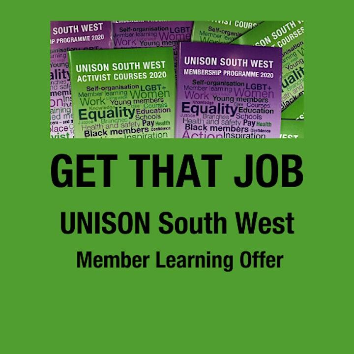 GET THAT JOB - UNISON SW Member Offer ( PM Session) image