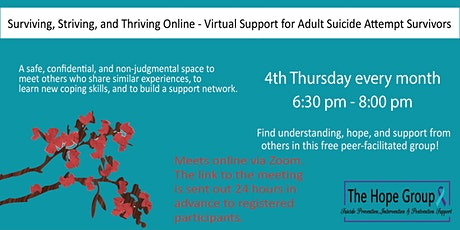 Online Support Group - Adults Suicidal Thoughts / Suicide Attempt Survivors tickets