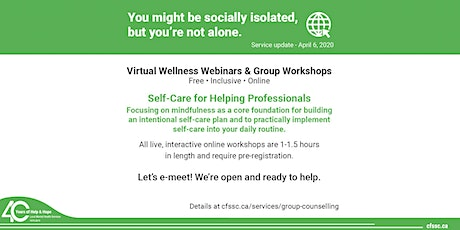 Self-Care Strategies for Helping Professionals tickets