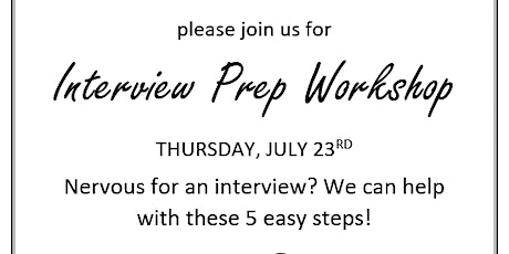 Preparing For Your Interview Virtual Workshop tickets