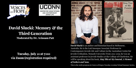 Author David Slucki discusses Memory and the Third Generation tickets