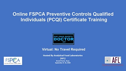Online : FSPCA Preventive Controls For Human Foods (PCQI) Certificate Training tickets