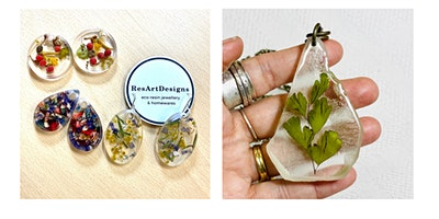 Eco Resin Botanical Necklace & Earrings Trio- Beginner level