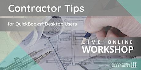 Contractors Tips Workshop for QuickBooks Desktop Users tickets