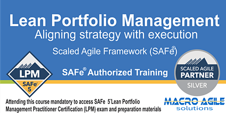 SAFe®5 Lean Portfolio Management with Certification-Virtual-Instructor Led tickets