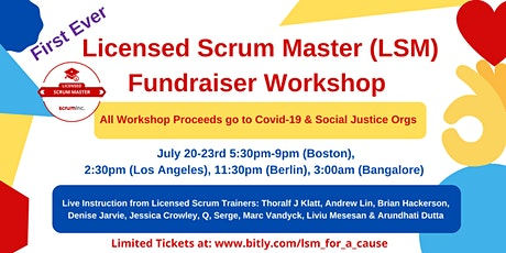 Licensed Scrum Master (LSM) Workshop Fundraiser for Covid Frontline Workers tickets