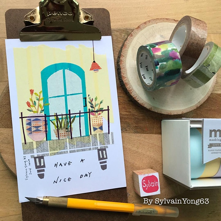 "Online Demo: ""Balcony View"" Washi Tape Postcard by Sylvain Yong image"