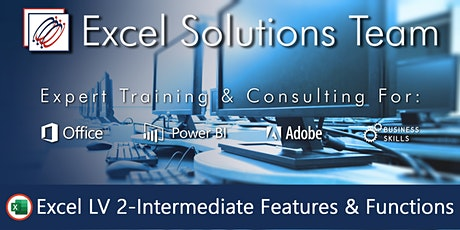 Excel Level 2 - Intermediate Features & Functions (1-Day) tickets