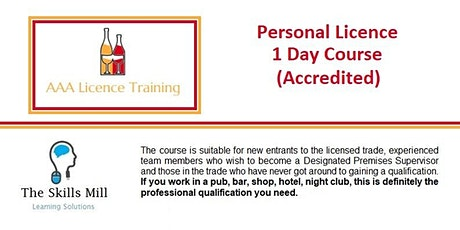 Personal Licence 1 Day Course (Accredited) Aug20 tickets