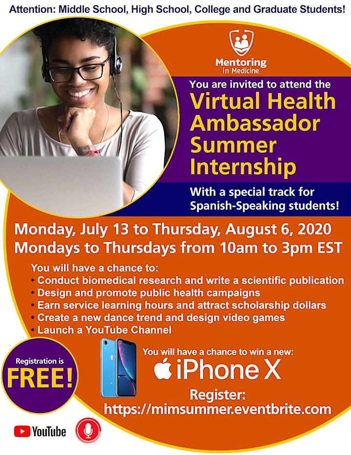 Mentoring in Medicine Virtual Health Ambassador Summer Internship image