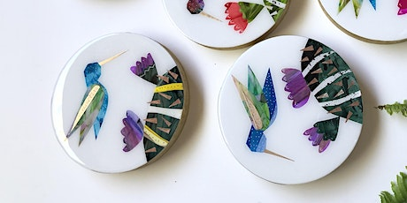 Hummingbird and flowers Alcohol ink+collage workshop (LEVEL 2) tickets