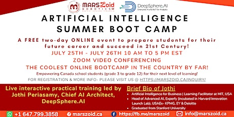 FREE   Artificial Intelligence   Summer Boot Camp For KIDS   Virtual Only tickets