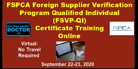 Online FSPCA Foreign Supplier Verification Program (FSVP-QI) Training tickets
