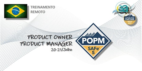 Treinamento remoto SAFe® Product Owner/Manager com  exame para certificação bilhetes