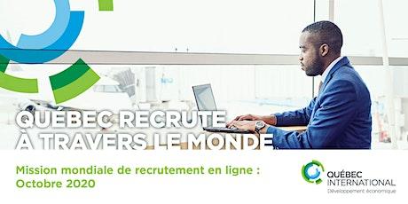 Mission mondiale de recrutement en ligne : Octobre 2020 billets
