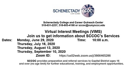 Schenectady College and Career Outreach Center Virtual Interest Meeting tickets