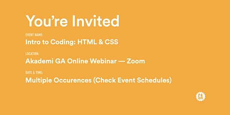 Intro to Coding: HTML & CSS | Akademi GA bilhetes