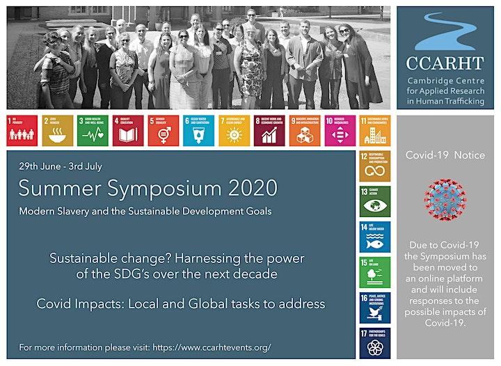 The SDGs & Human Trafficking: Covid times summit.  CCARHT ON LINE Symposium image