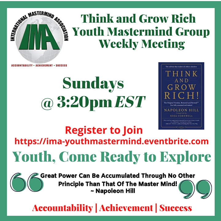 Think and Grow Rich Youth/Family Mastermind Weekly Meeting image
