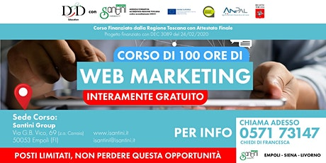 CORSO INTERAMENTE GRATUITO  di 100 ore di WEB MARKETING biglietti