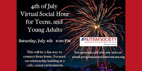 Autism Society VC 4th of July Virtual Social Hour for Teens & Young Adults tickets