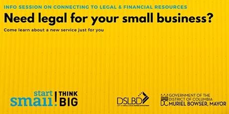 VIDEO AVAILABLE:  NEW (FREE) LEGAL & FINANCIAL RESOURCES FOR DC BUSINESSES tickets