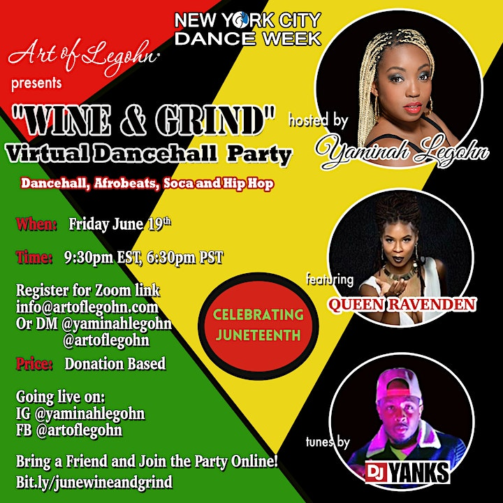NYC Dance Week! Wine and Grind Virtual Dancehall Party image