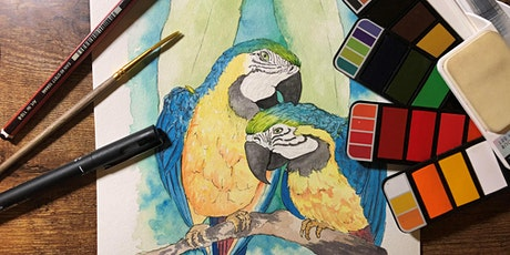 Paint and Sip Class - Watercolour Parrots tickets
