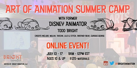 Art of Animation Summer Camp, with former Disney Animator. ONLINE EVENT tickets